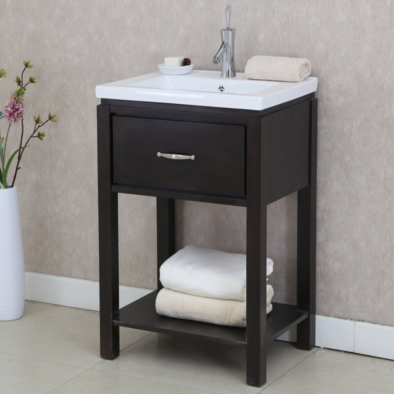 "InFurniture 24"" Single Bathroom Vanity Set with Open Shelf ..."