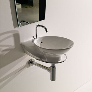 WS Bath Collections Swan Ceramic Specialty Vessel Bathroom Sink with Overflow