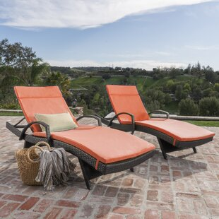 Brayden Studio Hans Cagliari Wicker Chaise Lounge with Cushion (Set of 2)