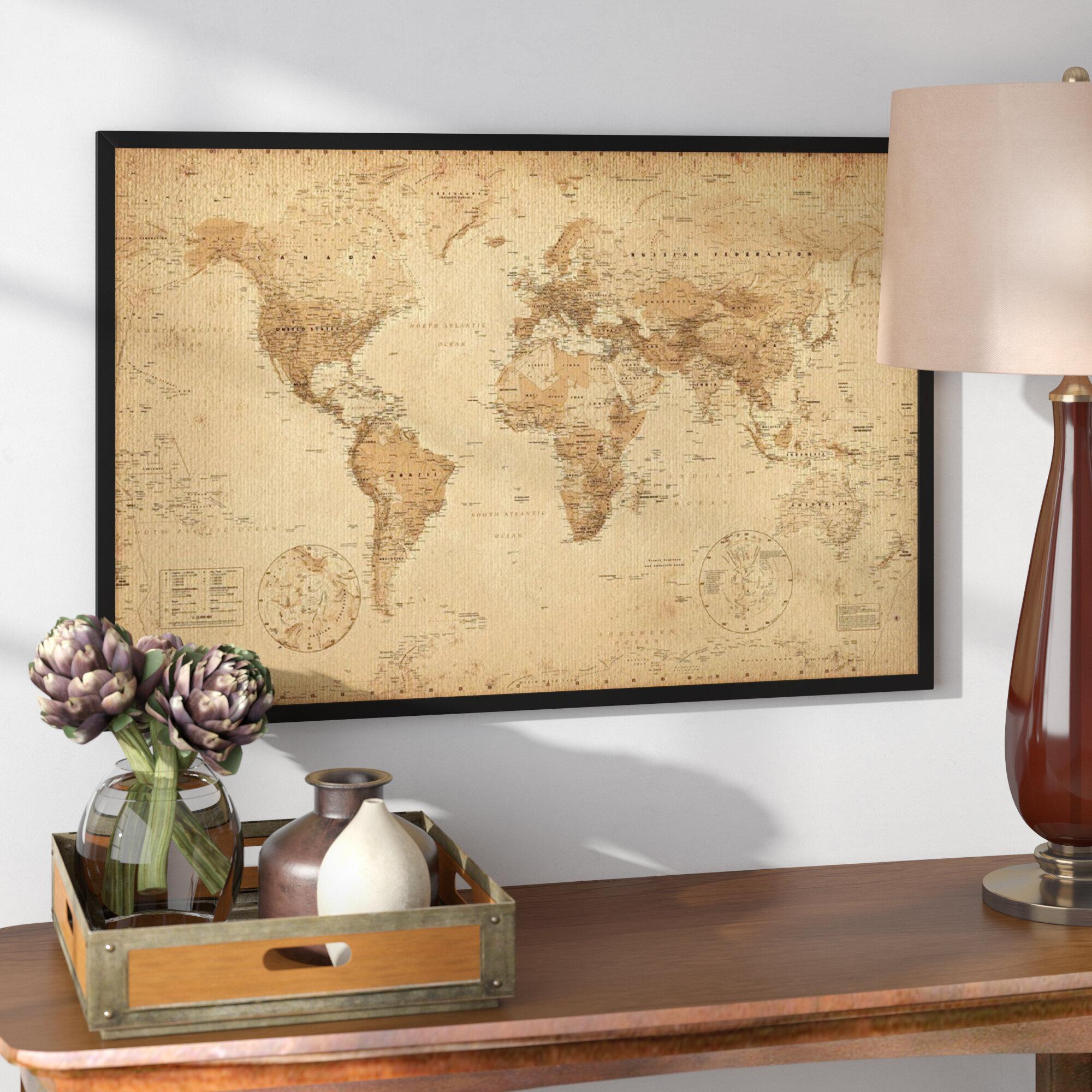 Alcott Hill \'World Map Antique\' Rectangle Framed Graphic Art Print ...