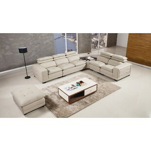 Latitude Run Vidaurri Leather Sectional with Ottoman