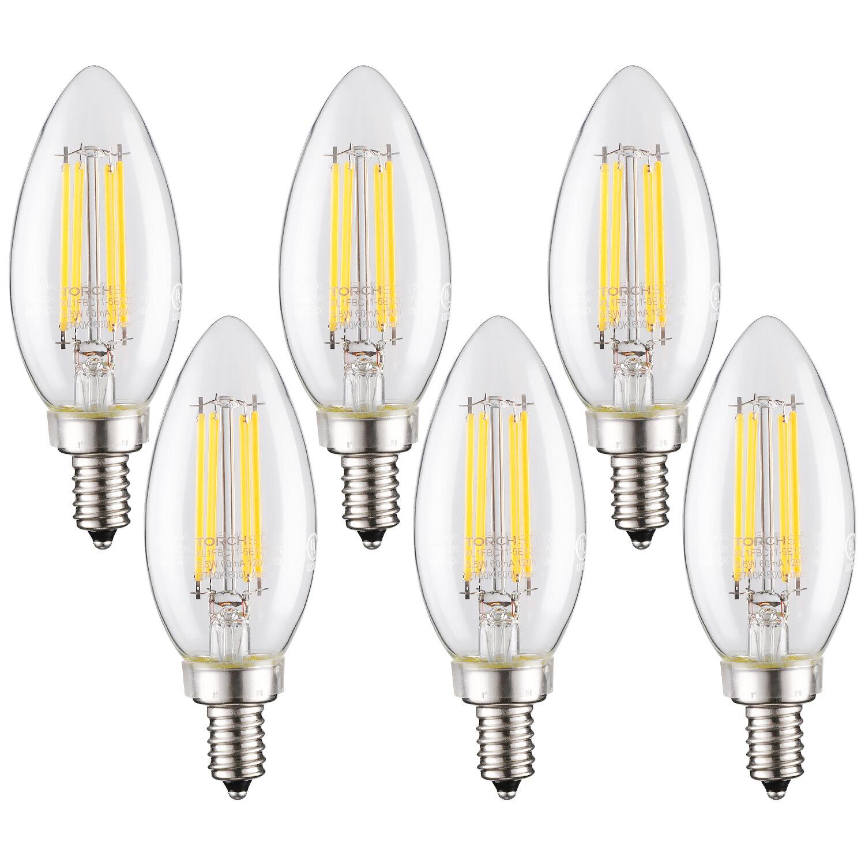 Torchstar 5 5 Watt 60 Watt Equivalent C11 Led Dimmable Light Bulb E12 Candelabra Base Reviews Wayfair