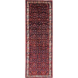Top Reviews One-of-a-Kind Perillo Hamedan Persian Hand-Knotted Runner 3'2 x 9'3 Wool Burgundy/Black Area Rug By Isabelline