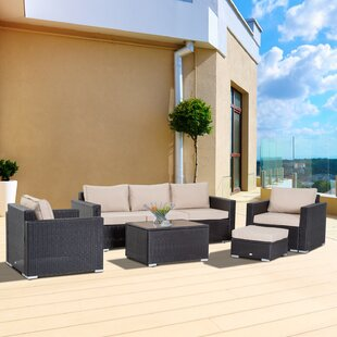 Arnos Outdoor 5 Piece Rattan Sectional Set with Cushions