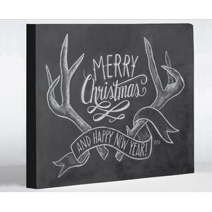 Merry Christmas Antlers by Lily & Val Graphic Art on Wrapped Canvas
