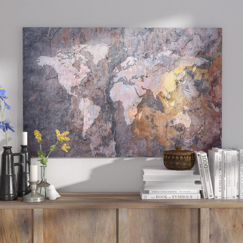 East urban home world map on stone background graphic art print world map on stone background graphic art print gumiabroncs Gallery