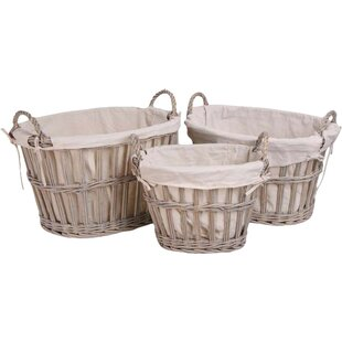 3 Piece Oval Willow Basket Set By August Grove