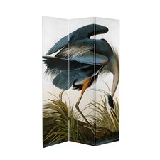 71 x 38.75 Tall Double Sided Audubon Heron and Flamingo Canvas 3 Panel Room Divider by Oriental Furniture