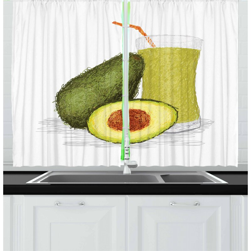 East Urban Home Avocado 2 Piece Kitchen Curtain Set Wayfair