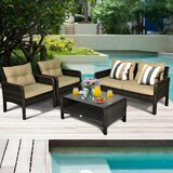 Gaskins 4 Piece Rattan Sofa Seating Group with Cushions