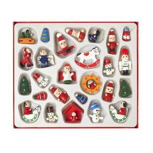 26 piece wooden christmas hanging figurine set - Wooden Christmas Decorations