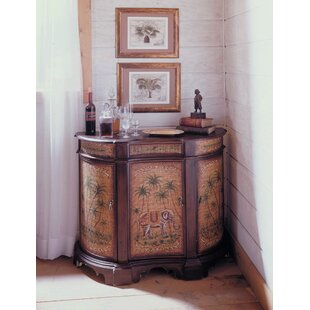 Reith Hand-Painted Curved Palm Credenza 3 Door Accent Cabinet by Bloomsbury Market