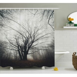 Harding Autumn Tree in Fog Dark Shower Curtain + Hooks
