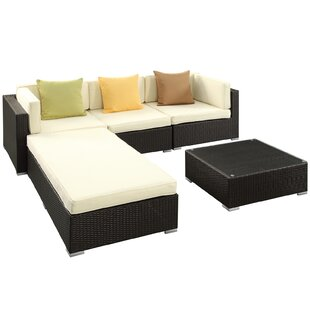 Lambid 5 Piece Rattan Sectional Set with Cushions by Modway