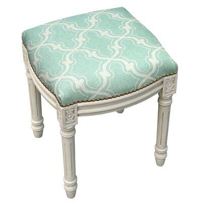 123 Creations Trellis Linen Upholstered Vanity Stool Color Aqua