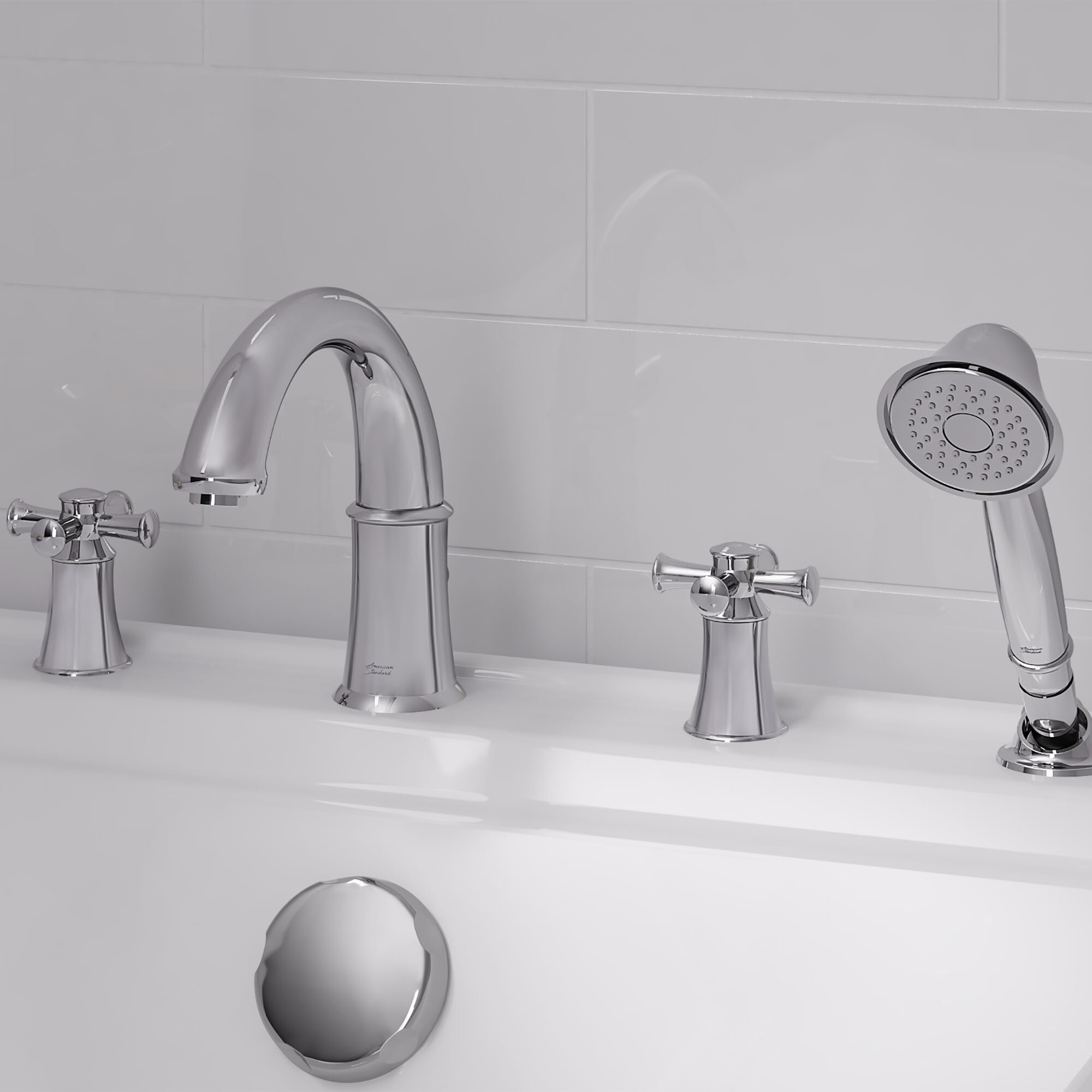 Portsmouth Double Handle Deck Mounted Roman Tub Faucet Trim With Handshower