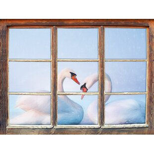 Two Magnificent Swans On The Water Wall Sticker By East Urban Home