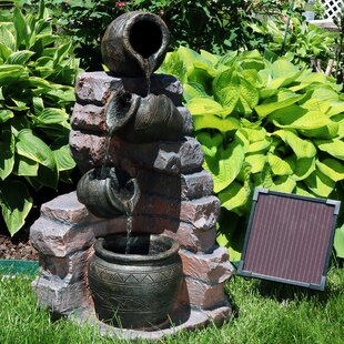 Loon Peak Vick Resin Solar Crumbling Bricks and Pots Outdoor Fountain with LED Light