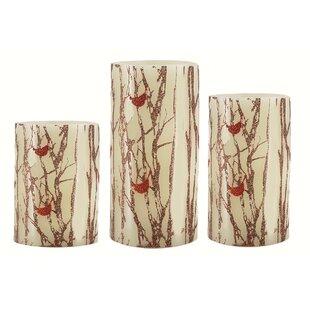 3 Piece Glitter Cardinal LED Gift Box Unscented Pillar Candle Set