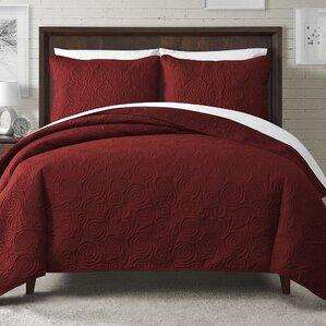 kate solid swirl design reversible quilt set