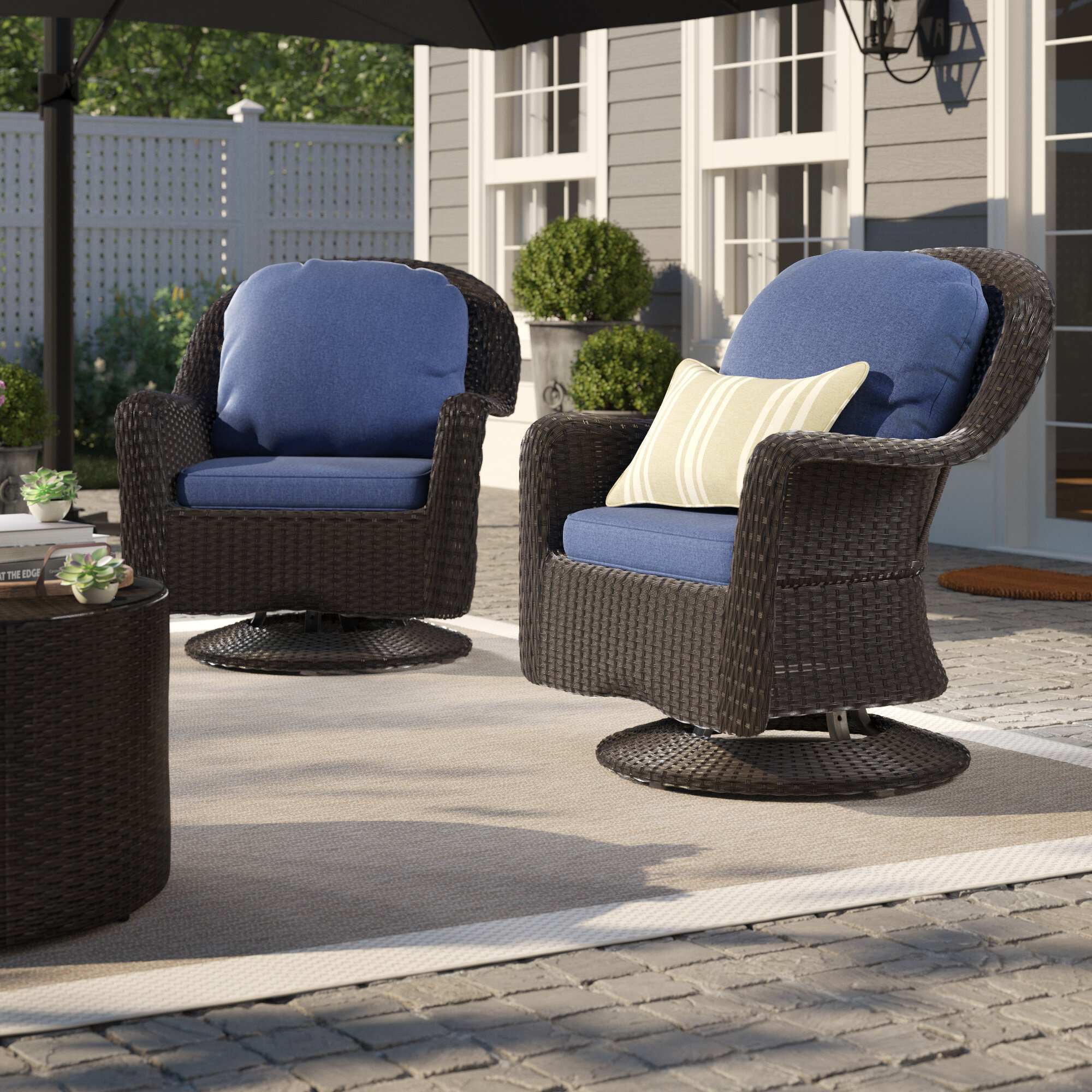 Admirable Dearing Modern Outdoor Wicker Swivel Club Patio Chair With Cushions Home Interior And Landscaping Ologienasavecom