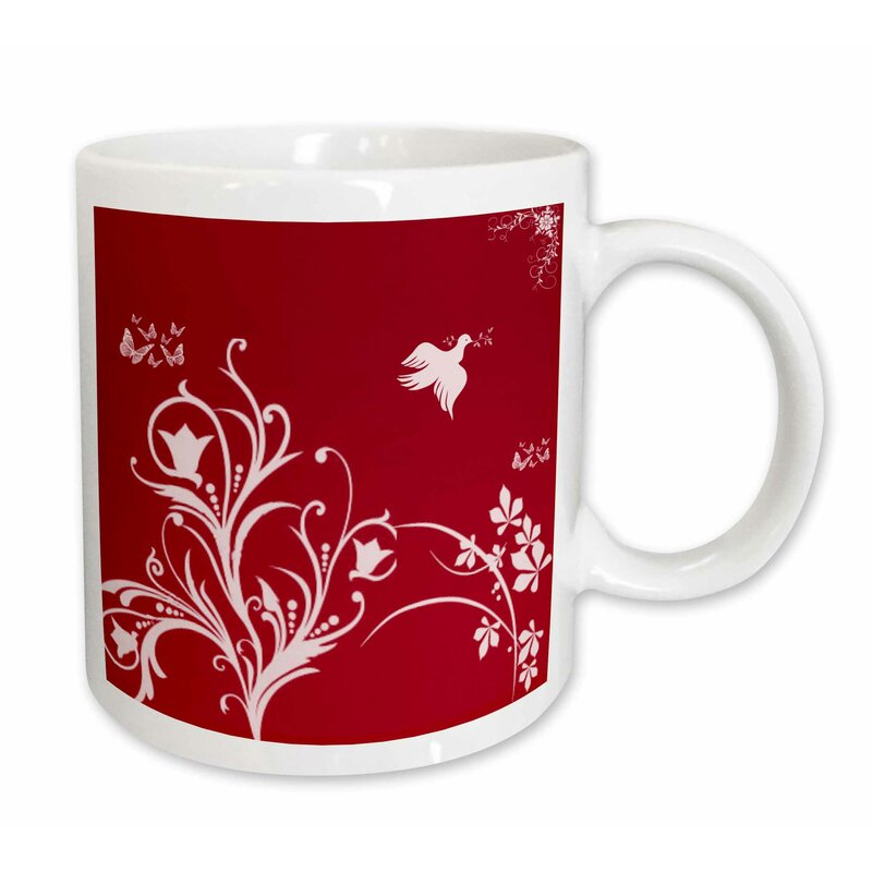 east urban home floral pattern in on a background with dove and butterflies coffee mug wayfair wayfair