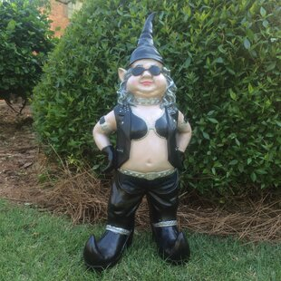 Nowaday Gnomes Born-to-Ride Biker Babe The Girl Gnome In Full Leather Motorcycle Riding Gear Statue 14.5H by HomeStyles