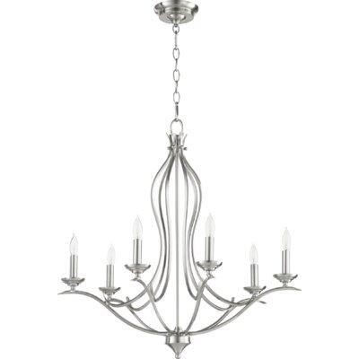 Harnois 6-Light Candle Style Empire Chandelier Lark Manor Finish: Satin Nickel