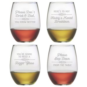 Wine Wisdom Stemless Wine Glass (Set of 4)