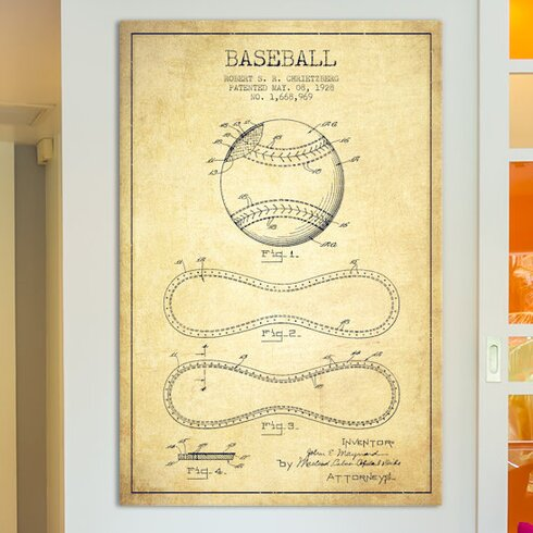 East urban home baseball vintage patent blueprint by aged pixel baseball vintage patent blueprint by aged pixel graphic art on wrapped canvas malvernweather Choice Image