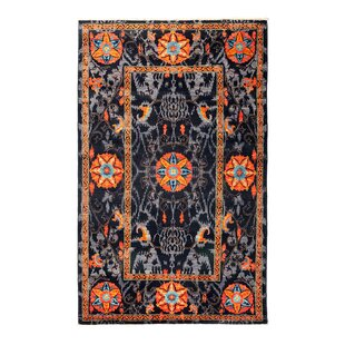 Reviews One-of-a-Kind Suzani Hand-Knotted Black/Orange/Gray Area Rug By Darya Rugs