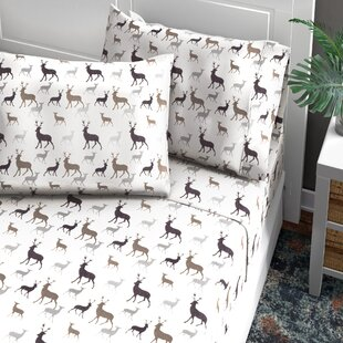 Bhavya Deer Flannel Sheet Set