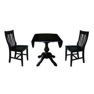 Pattie 3 Piece Drop Leaf Solid Wood Dining Set Canora Grey
