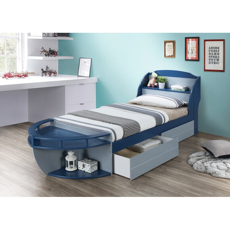 Zoomie Kids Kincade Twin Platform Bed with Drawers and Shelves