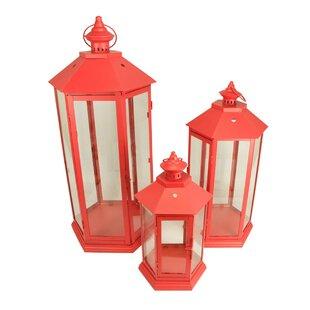 Pillar 3 Piece Metal/Glass Lantern Set by Longshore Tides