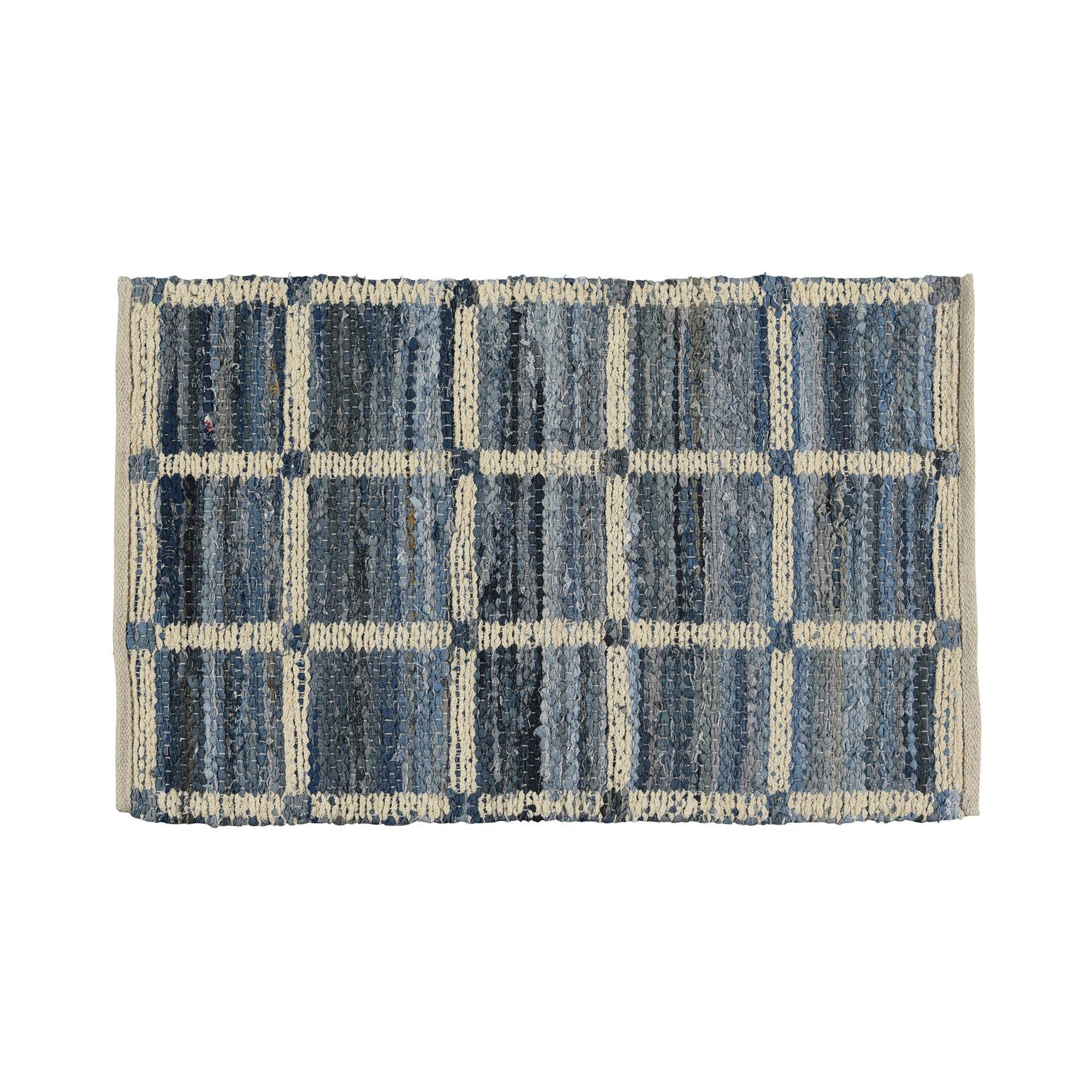 Benjara Cotton Blue Beige Rug Wayfair
