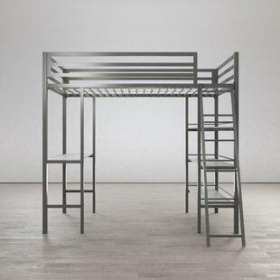 Nova Metal Twin Loft Bed with Shelves