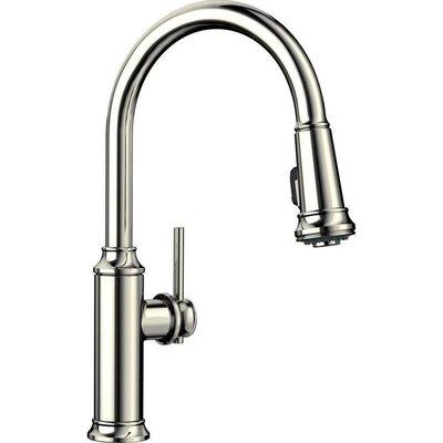Empressa Pull Down Single Handle Kitchen Faucet Blanco Finish Polished Nickel