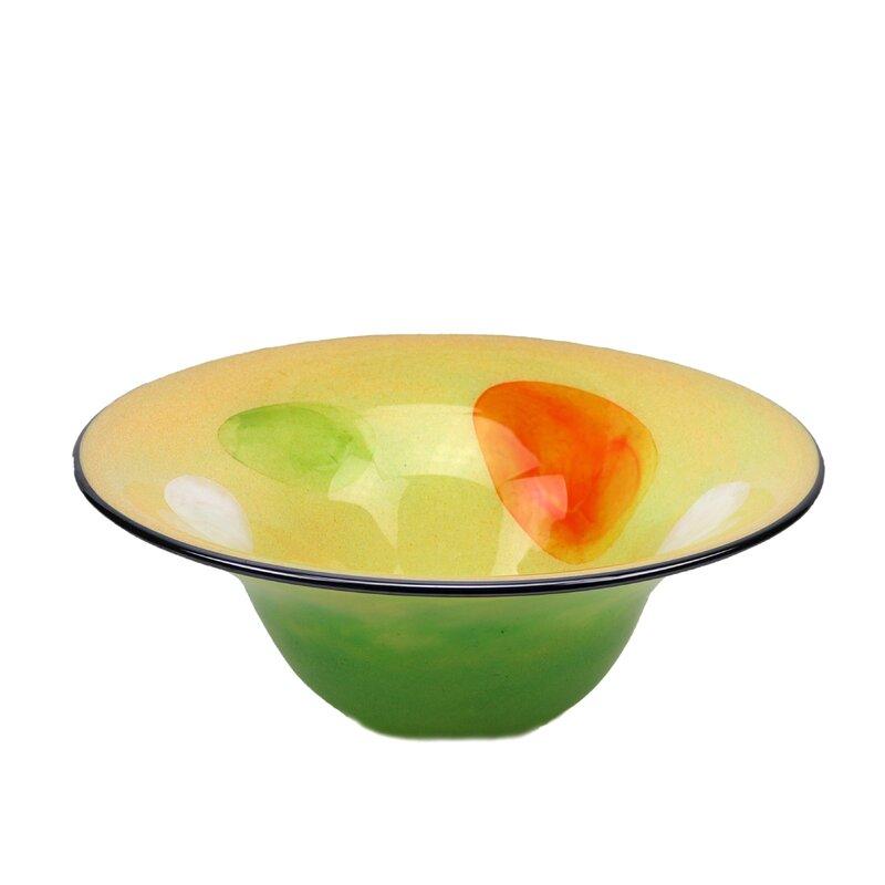Orren Ellis Alvo Glass Decorative Bowl In Yellow Orange Green Wayfair