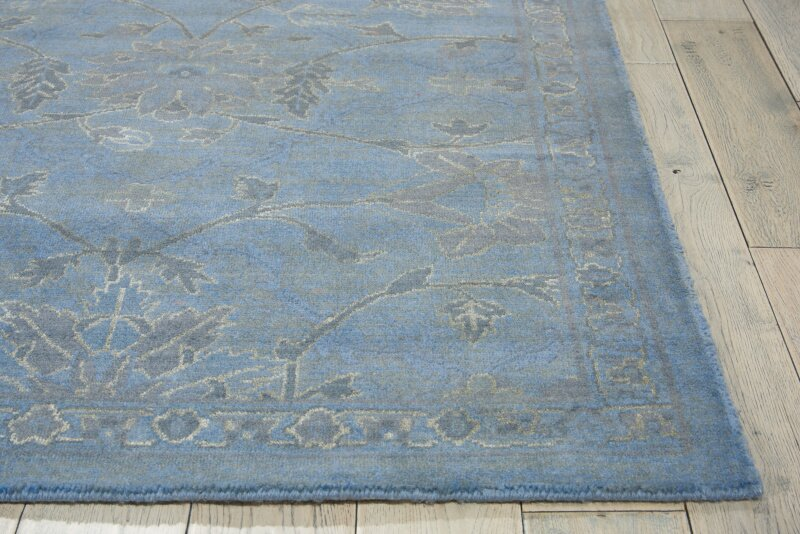 Bloomsbury Market Pine Air Oriental Wool Silk Blue Area Rug Wayfair