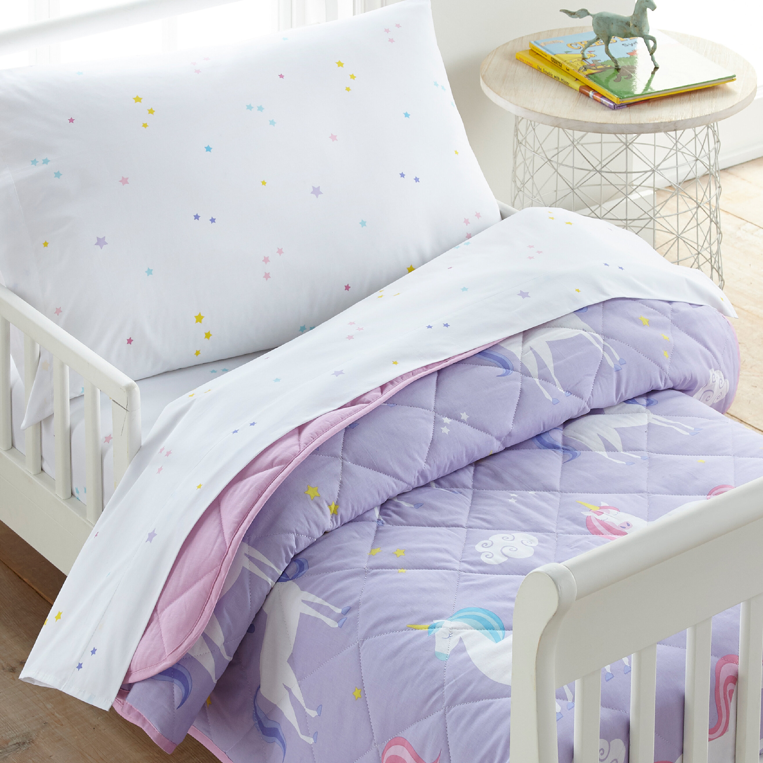 Wildkin Unicorn Cotton 4 Piece Toddler Bedding Set Reviews Wayfair