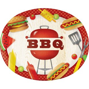 BBQ Time Oval Paper Dinner Plate (Set of 24)