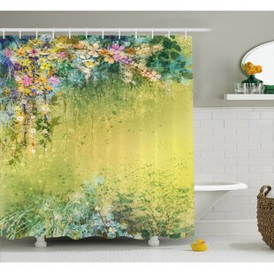 Bruce Spring Foliage With Leaves Hand Drawn Aesthetic Inspiring Picture Shower Curtain by Winston Porter
