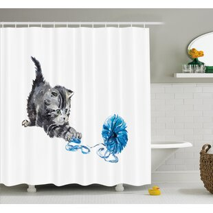 Quakertown Playful Baby Kitten Furry Print Single Shower Curtain