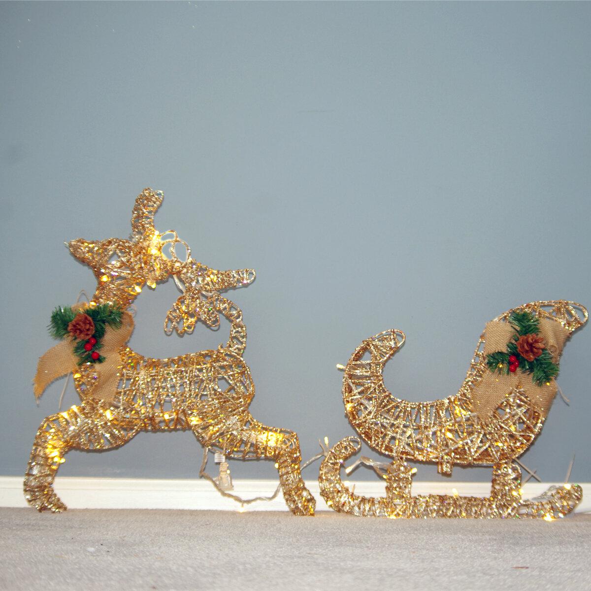 6aba9414b7 Christmas Pre-Lit LED Lighted Deer and Sleigh