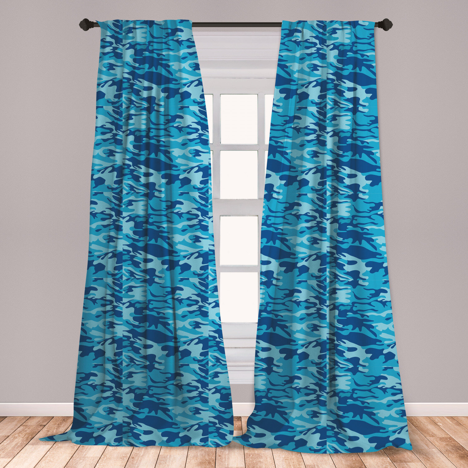 East Urban Home Ambesonne Camouflage Curtains Abstract Camouflage Costume Concealment From The Enemy Hiding Pattern Window Treatments 2 Panel Set For Living Room Bedroom Decor 56 X 63 Pale Blue Navy Blue