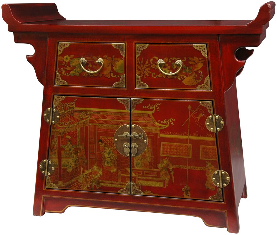Lacquer Village Life Altar Accent Cabinet