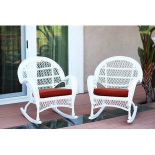 Darby Home Co Berchmans Wicker Rocker Chair with Cushions (Set of 2)