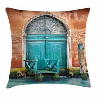 Ancient Building Door Square Pillow Cover by East Urban Home