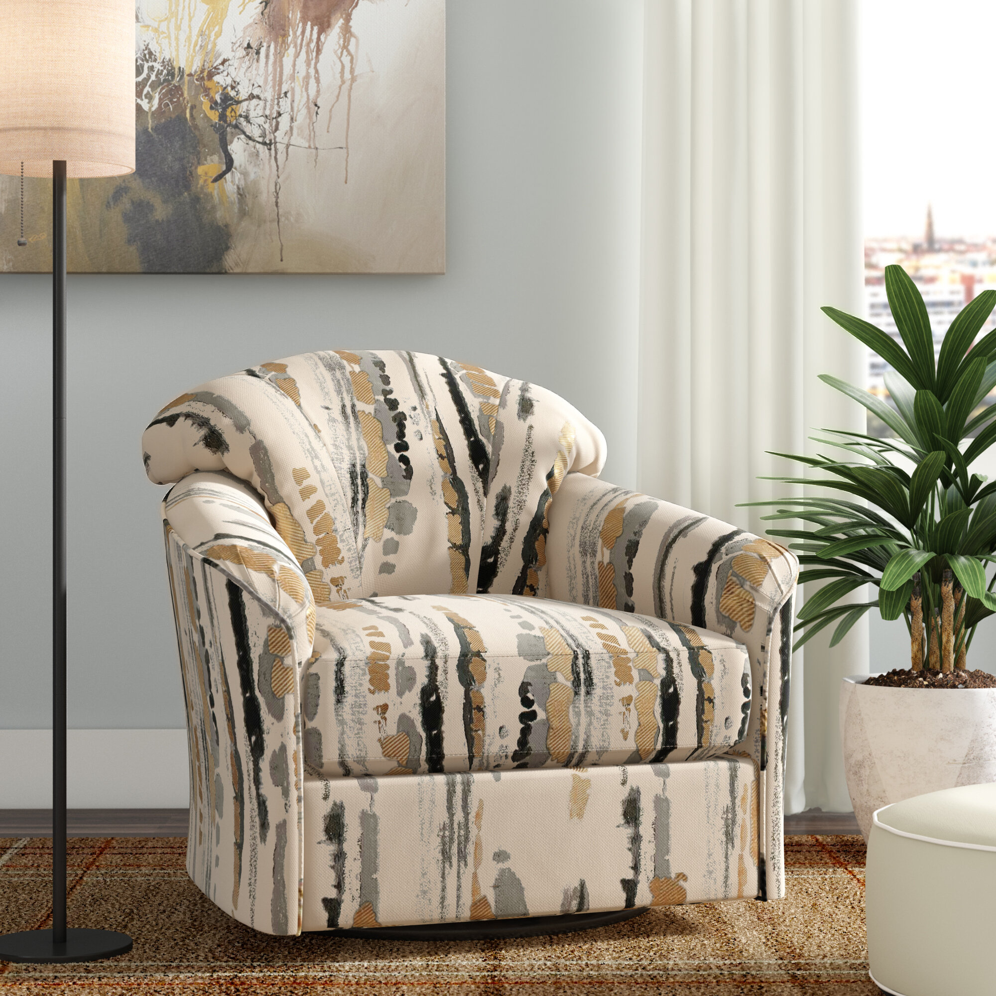 Brayden Studio Renner Swivel Armchair Reviews Wayfair